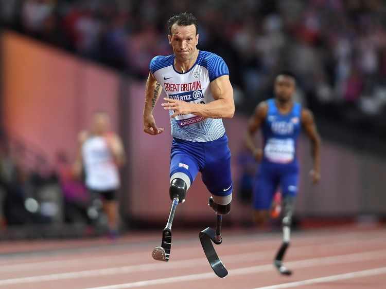 Richard Whitehead in action in the IPC World ParaAthletics Championships