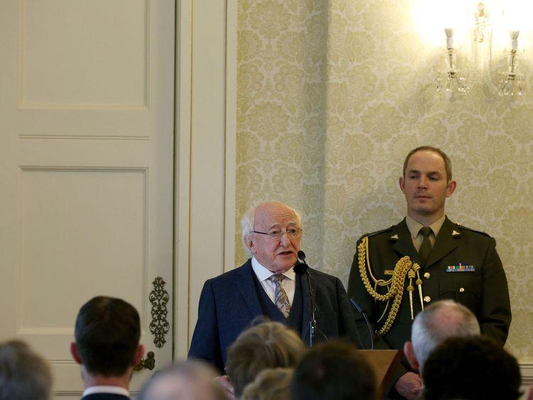 President Higgins at the ceremony granting Myles Joyce a posthumous pardon