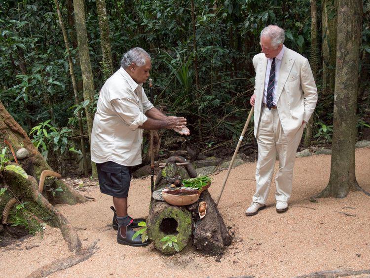 Aborigine elder Roy Gibson discussed Kuku Yalanji traditions with Prince Charles