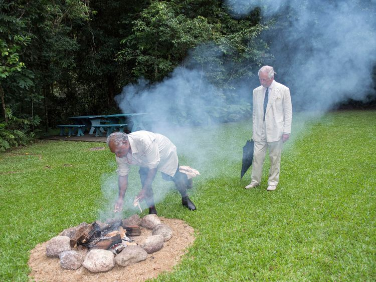 Roy Gibson and Prince Charles took part in a traditional smoking ceremony to ward of evil spirits