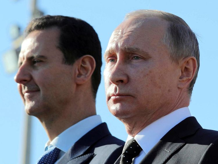 Syria's President Assad and Russia's President Putin deny using chemical weapons in Douma