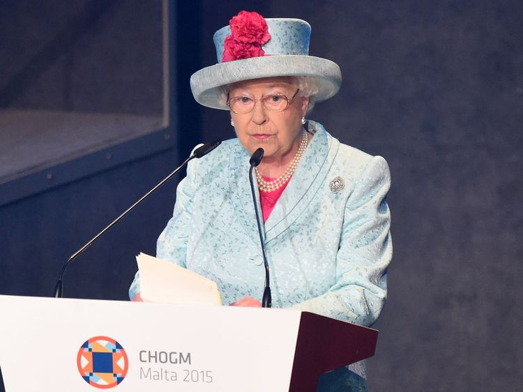 The Queen giving her opening speech at CHOGM 2015 in Malta