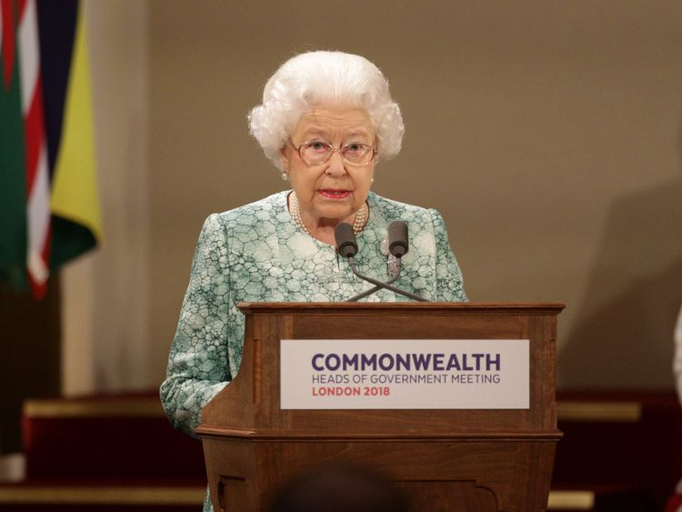 Queen Elizabeth speaks at the formal opening of the Commonwealth Heads of Government Meeting