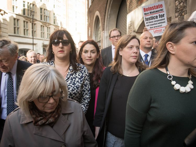 Labour MPs Luciana Berger (centre) and Jess Philllips (right) at a demonstration outside the Labour party disciplinary hearing for Marc Wadsworth in London.