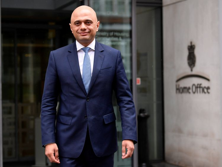 Sajid Javid stands outside the Home Office after being named as Home Secretary