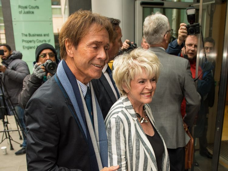 Sir Cliff Richard arrived at the High Court with former broadcaster Gloria Hunniford