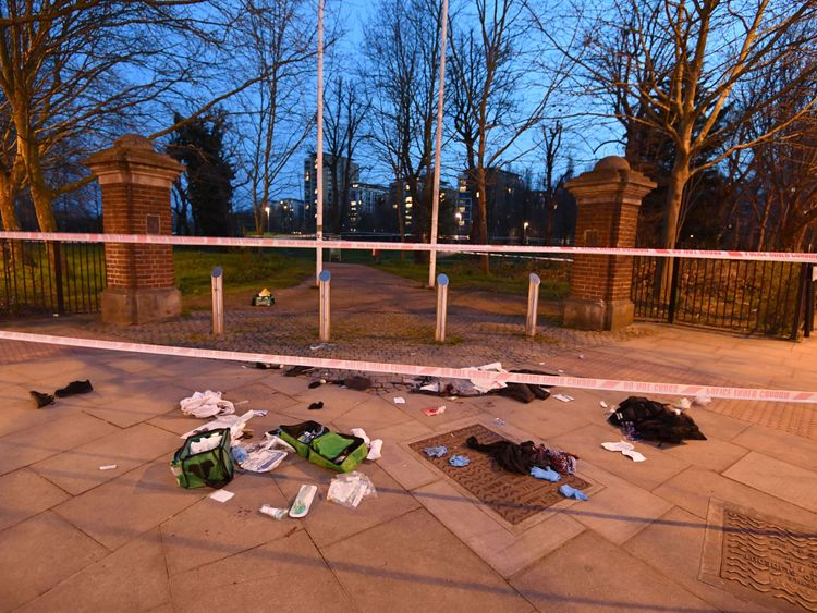 Bloodied clothes near the scene in Grove Road, Mile End, east London following reports of a stabbing