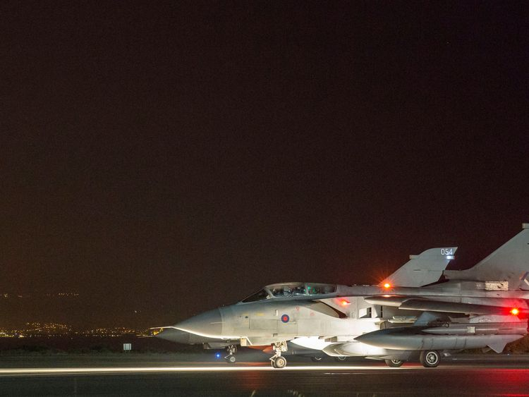 A British Tornado GR4 fighter jet preparing to take off from Cyprus