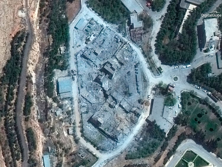 The Barzah Research and Development Centre, near Damascus, pictured after the coalition missile attack