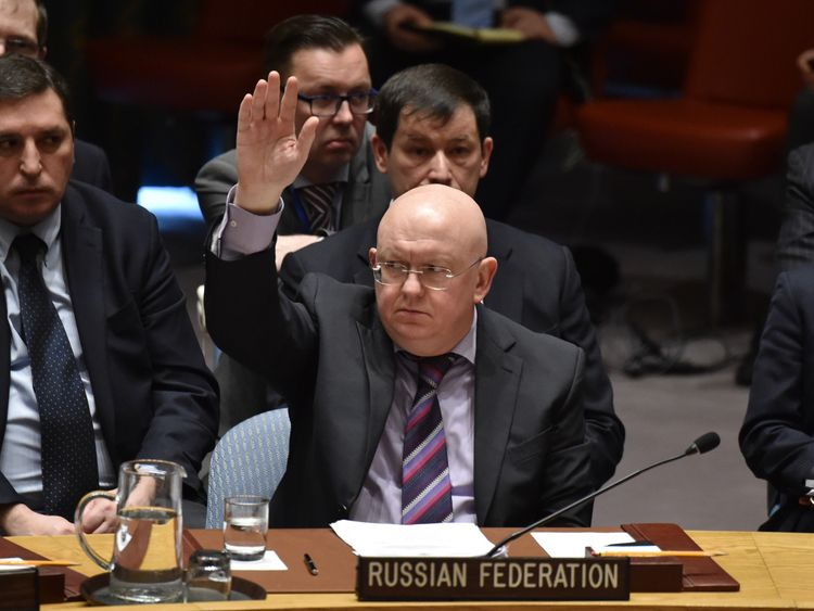 Russian Ambassador to the United Nations Vassily Nebenzia votes against investigating the use of chemical weapons in Syria