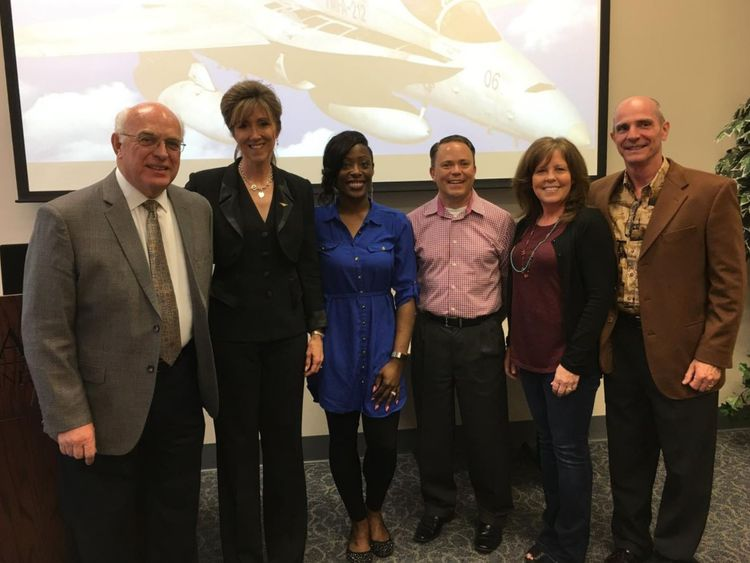 Tammie Jo Shults (second left). Pic: MidAmerica Nazarene University Alumni & Friends