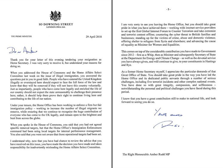 Theresa May's response to Amber Rudd's resignation letter