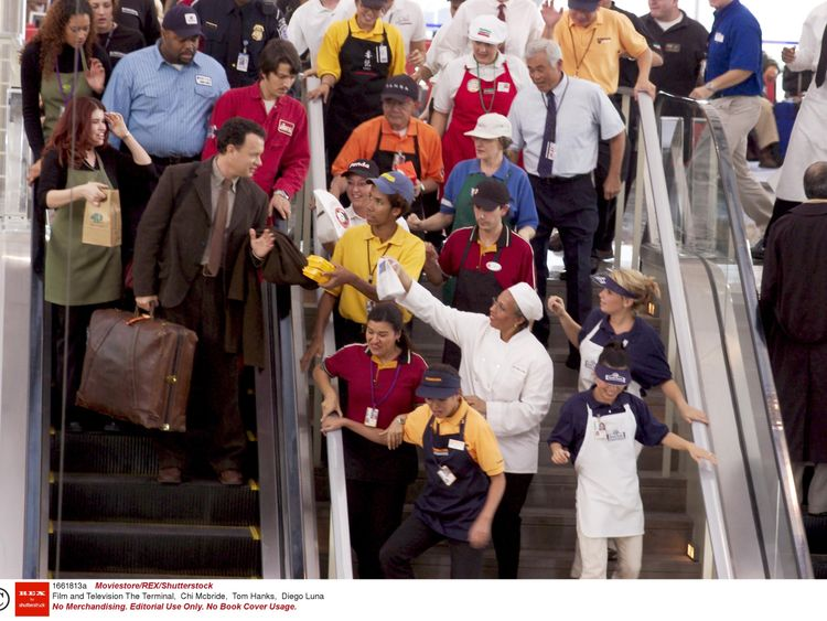 Tom Hanks in the 2004 film The Terminal. Pic: Moviestore Collection/REX/Shutterstock