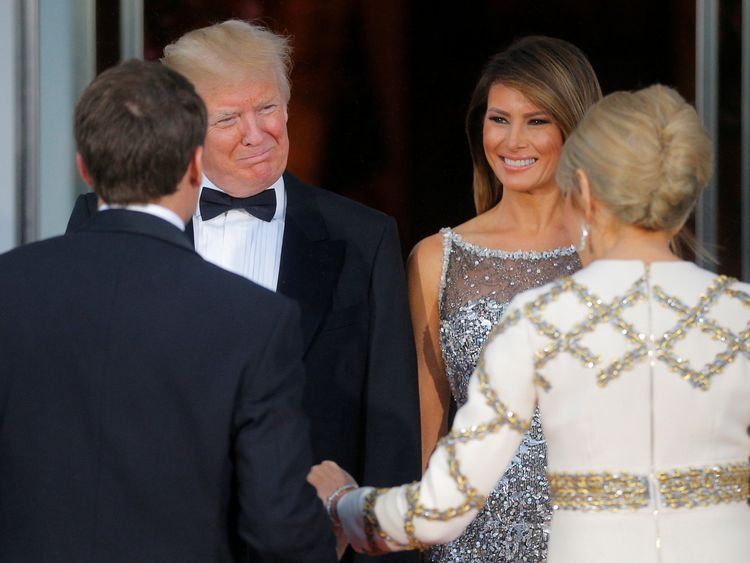 First Lady Melania wore a silver Chanel gown