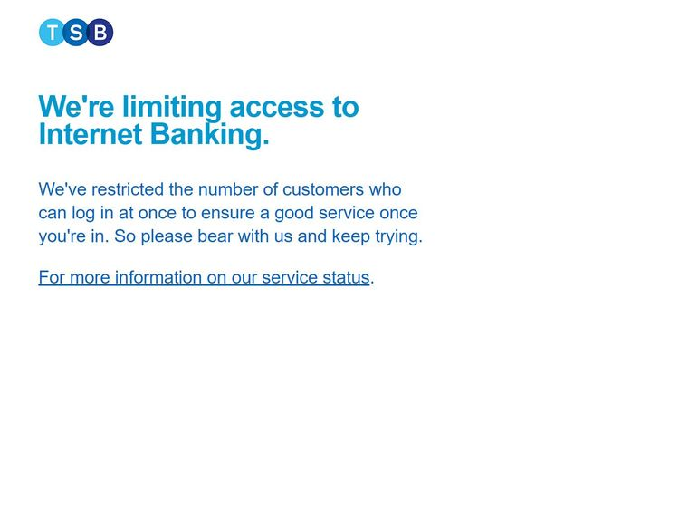 TSB's message to digital banking customers on Tuesday morning