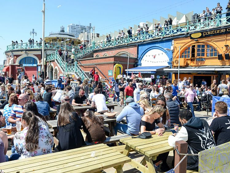 Brighton beach is likely to be popular as continental air passes through the country