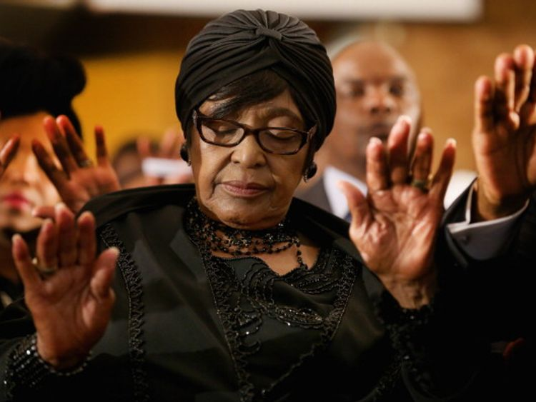 Winnie Mandela at a ceremony to mark a national day of prayer for Nelson Mandela in 2013