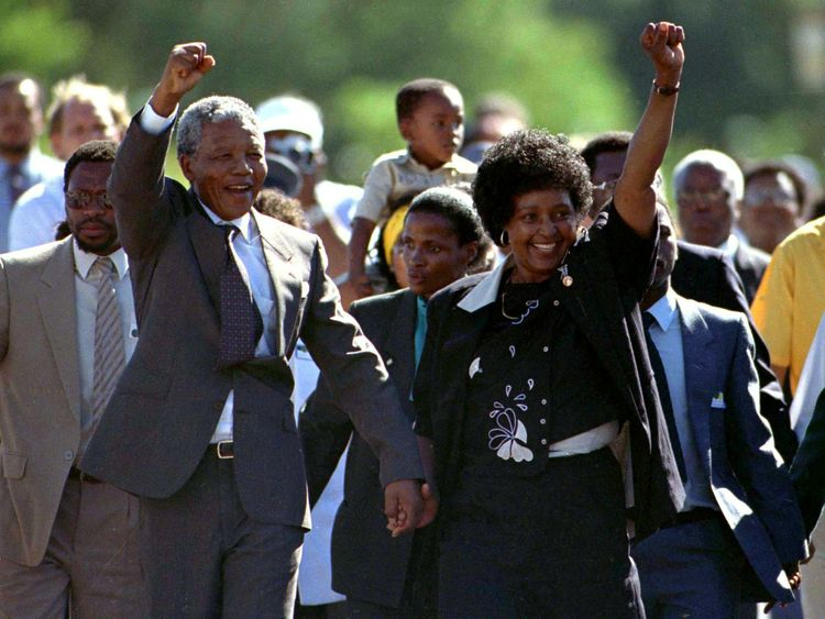 Winnie and Nelson Mandela on his release from prison