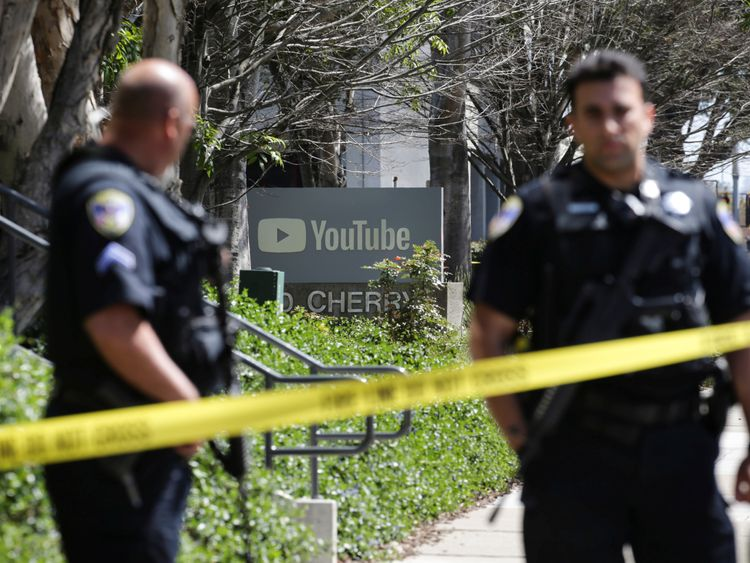 Police outside YouTube's offices