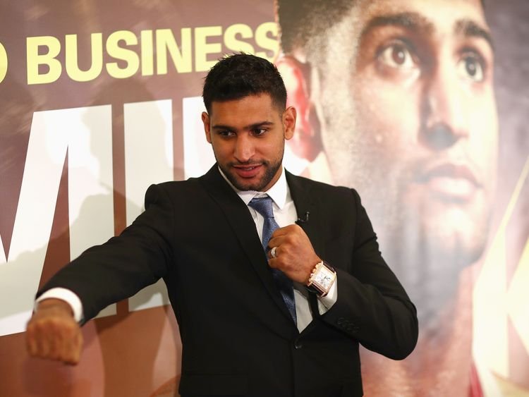 LONDON, ENGLAND - JANUARY 10:  Amir Khan poses for a photograph after speaking to the media during his Press Conference at the Dorchester Hotel on January 10, 2018 in London, England.  (Photo by Naomi Baker/Getty Images)
