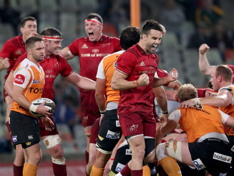 Guinness PRO14, Toyota Stadium, Bloemfontein, South Africa 13/4/2018.Toyota Cheetahs vs Munster.Munster's Conor Murray celebrates his side's penalty just before the final whistle.Mandatory Credit ..INPHO/Dan Sheridan