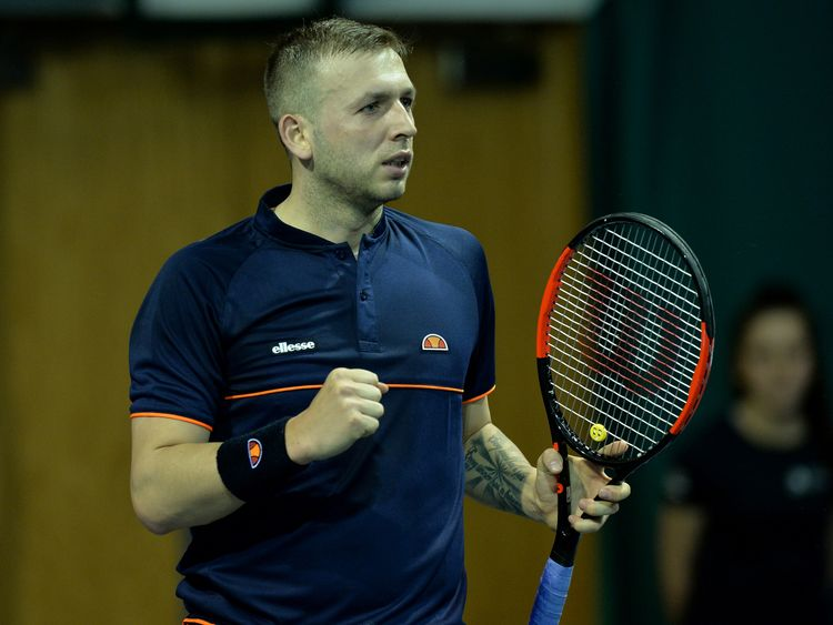 Dan Evans of Great Britain in action during his singles qualifying match with Edward Corrie of Great Britain on the first day of The Glasgow Trophy at Scotstoun Leisure Centre on April 28, 2018 in Glasgow, Scotland
