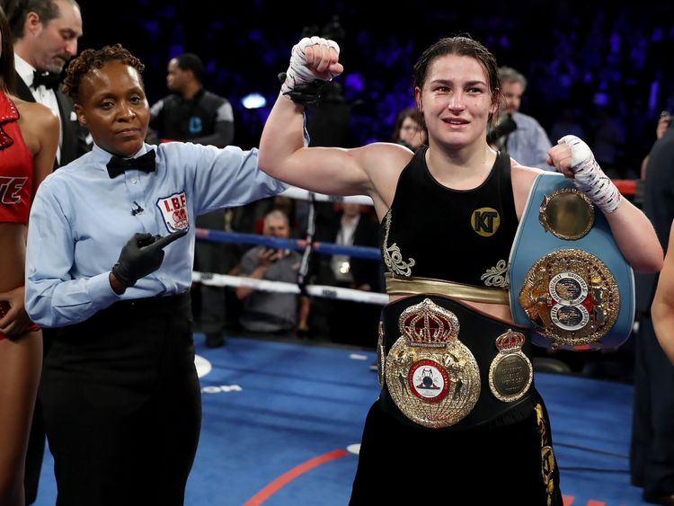 Katie Taylor of Ireland   Victoria Bustos of Argentina  during their WBA & IBF World Lightweight unification bout at Barclays Center on April 28, 2018 in the Brooklyn borough of  New York City.