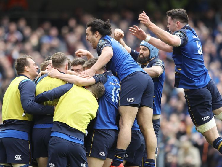 Leinster's Dan Leavy celebrates with team-mates after scoring a try during the quarter final of the European Champions Cup match at The Aviva Stadium, Dublin. PRESS ASSOCIATION Photo. Picture date: Sunday April 1, 2018. See PA story RUGBYU Leinster. Photo credit should read: Lorraine O'Sullivan/PA Wire. RESTRICTIONS: Editorial use only, No commercial use without prior permission.