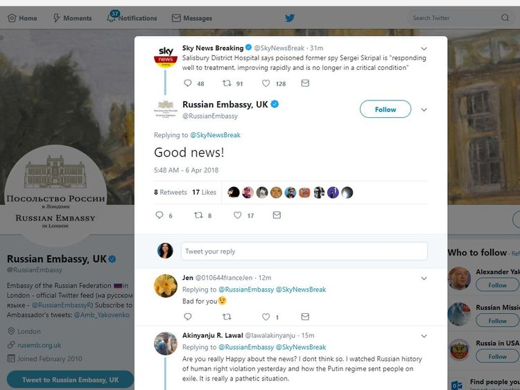 The Russian Embassy in the UK responds to Sky News' tweet breaking the news of Sergei Skripal's recovery