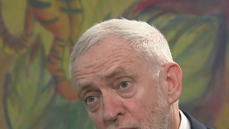 Jeremy Corbyn speaking to Sky News