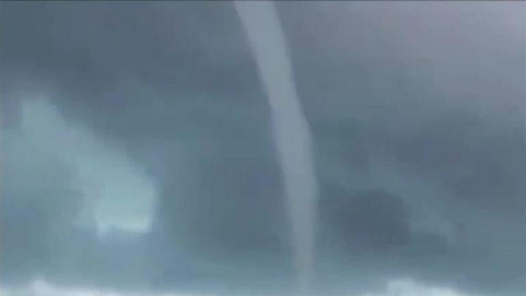 Huge waterspout seen off the Bahamas