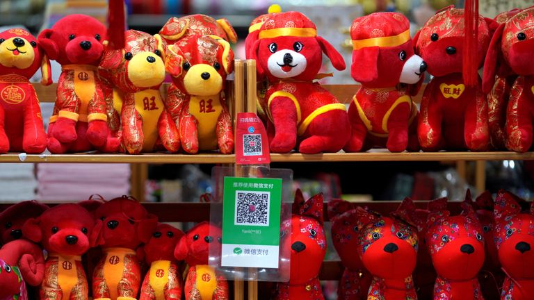 QR codes of Alipay (top) and Wechat Pay in a toy store in China