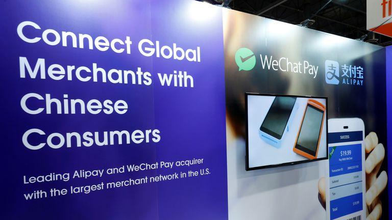 A display promoting WeChat Pay and Alipay during the Money 20/20 conference in Las Vegas last year