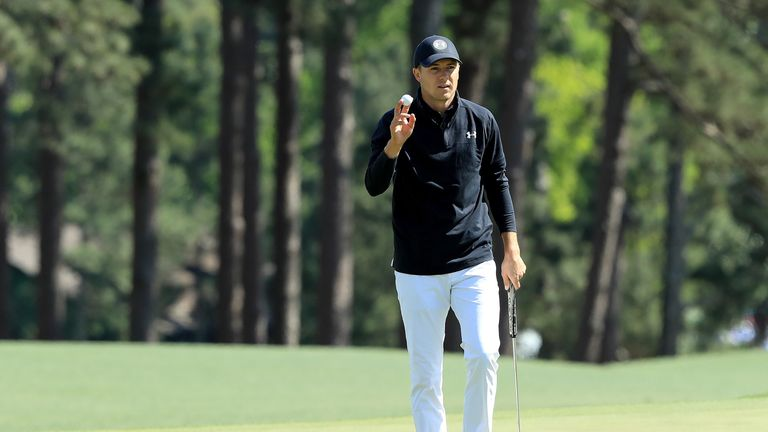 Jordan Spieth during the final round of the 2018 Masters Tournament at Augusta National Golf Club on April 8, 2018 in Augusta, Georgia.