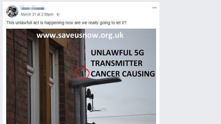 A Facebook post claiming that street light contain 5G antennas that cause cancer