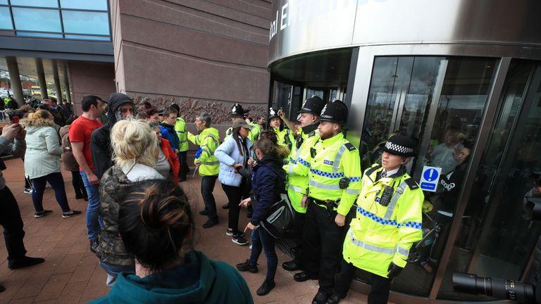 Police block the entrance at Alder Hey Children's Hospital