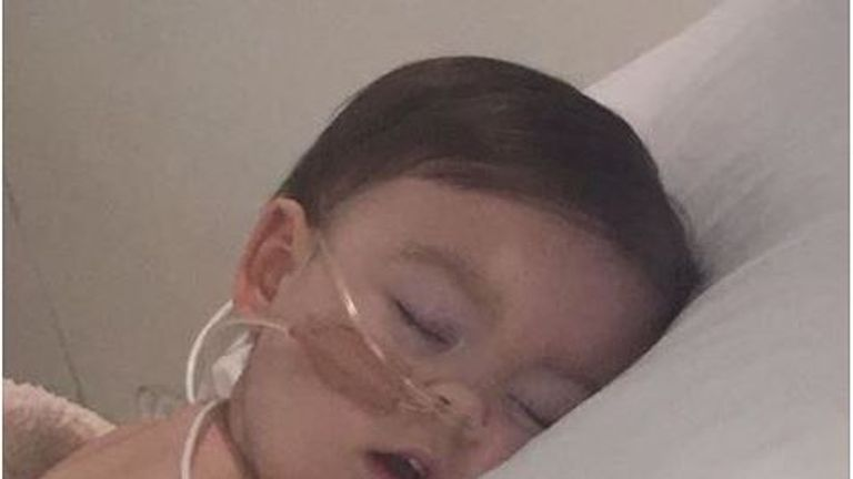 Pic of Alfie Evans in Alder Hey Hospital in Liverpool, where life support has been switched off