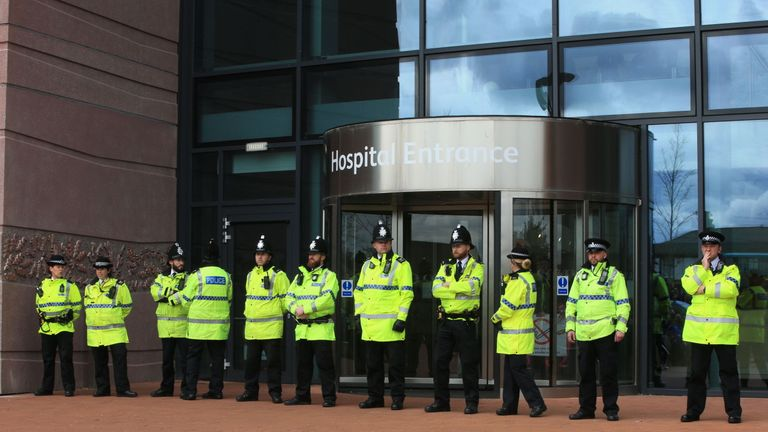 Police were deployed to guard the hospital entrance