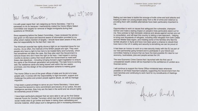 Amber Rudd's resignation letter to Theresa May