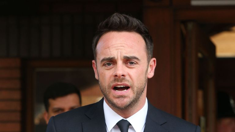 TV presenter Anthony McPartlin speaking outside The Court House in Wimbledon, London, after being fined £86,00