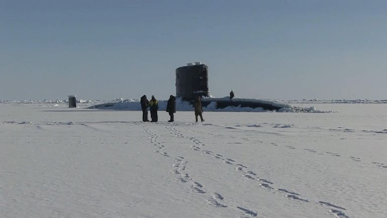 A British Royal Navy submarine broke through ice to surface in the Arctic Ocean, north of America, as part of Ice Exercise (ICEX) 2018, a five-week Navy exercise to assess its operational readiness and increase experience in the region.