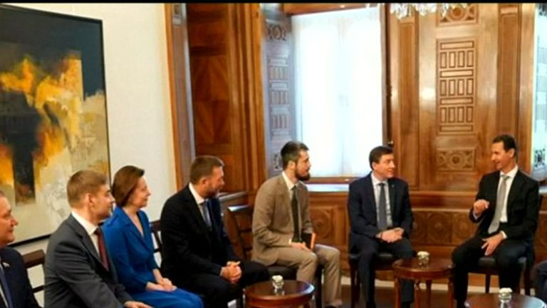 President Assad holding meetings with Russian MPs who visited Damascus the day after airstrikes on Syria.