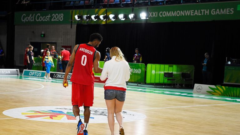 Jamell Anderson Proposes to Georgia Jones at the end of the basketball match between Cameroon and England on day four of the Gold Coast 2018 Commonwealth Games
