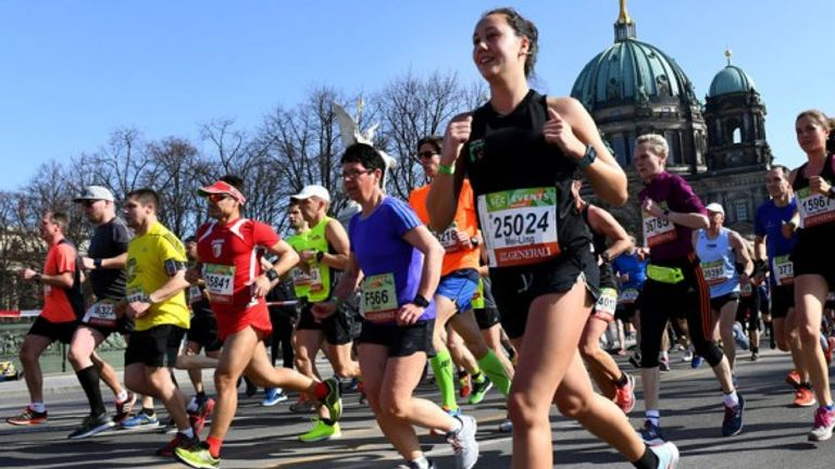 A record 36,000 people attended the Berlin half marathon on Sunday