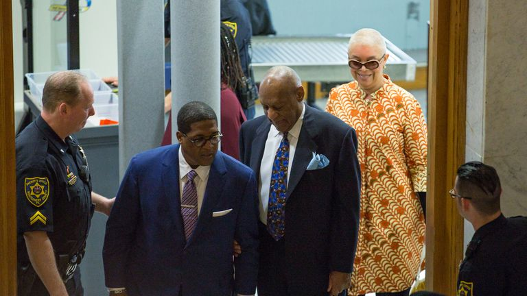 Bill Cosby arrives with his wife Camille for his sexual assault trial