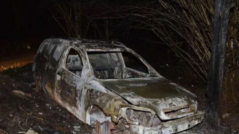 Jeeves' burnt out van was found in Orpington, Kent after the break-in