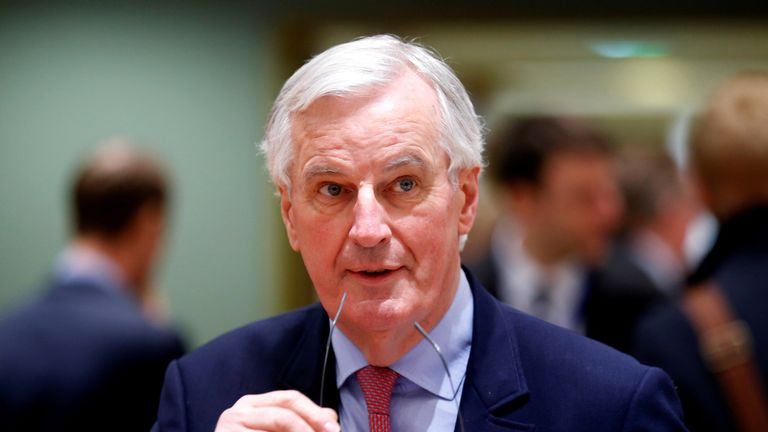 The European Union's chief Brexit negotiator, Michel Barnier, attends an EU meeting in Brussels
