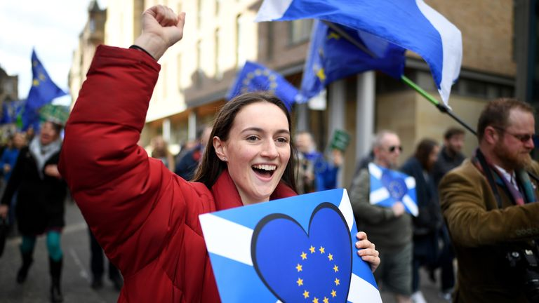 Protestors take part in a March for Europe march in Edinburgh