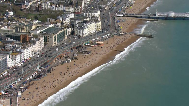 Britons took to beaches in the south east to enjoy the warm weather
