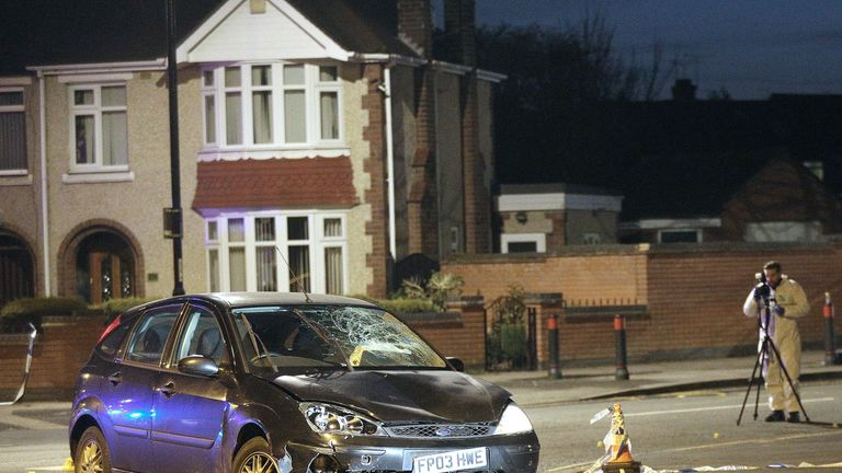 The scene where a black Ford Focus was found abandoned a short time after Casper Platt-May and his brother Corey Platt-May were killed